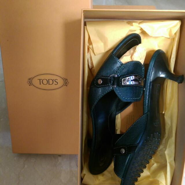 TOD'S 蜥蜴壓紋牛皮 鹿皮 女鞋 九成新