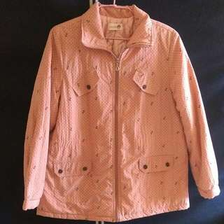❄⛄寒流特輯⛄❄防風舖棉保暖立領超可愛點點大衣外套(粉橘色配深藍點點)🎌🎏