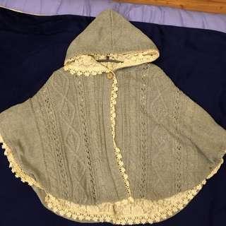 earth灰色連帽雙面穿蕾絲斗篷