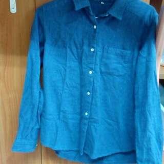 Muji無印良品藍色襯衫