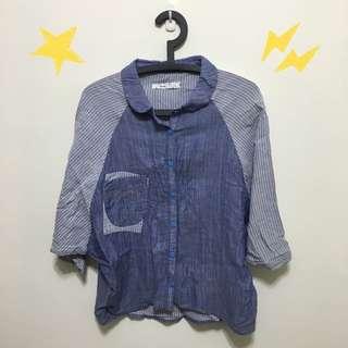👗(保留)[專櫃][此件免運費] A la sha 飛鼠袖棉麻襯衫