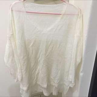 大v長版白色針織衣