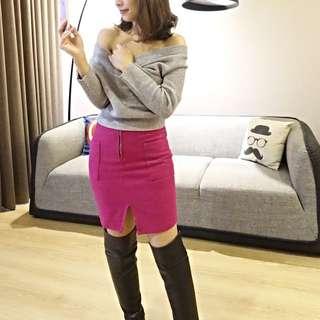 韓版桃紅色窄裙