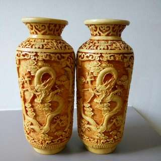 Double Dragon Vase x2