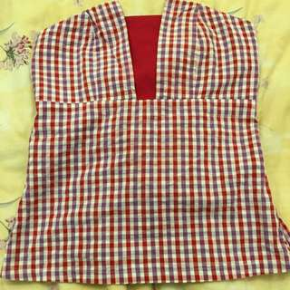 Chinese New Year Red Check Top