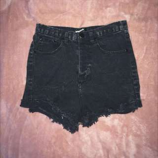 High Waisted Acid wash Black Shorts