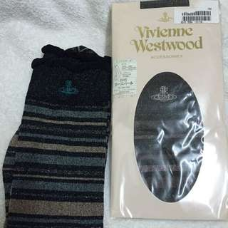 🚚 (絕版品)Vivienne Westwood 金蔥條紋半筒襪