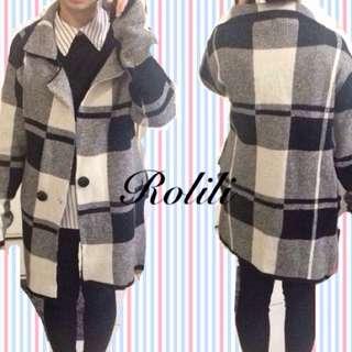大出清●韓版格紋針織外套