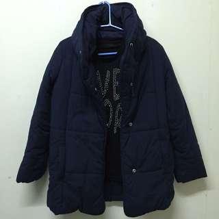 🚚 JEANASiS 深藍立領鋪棉外套 (不含內搭)