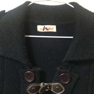 (二手)Hogo Color鎮衣店黑色針織長版外搭