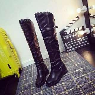 1207 秋冬季蕾絲女靴過膝瘦腿彈力長靴