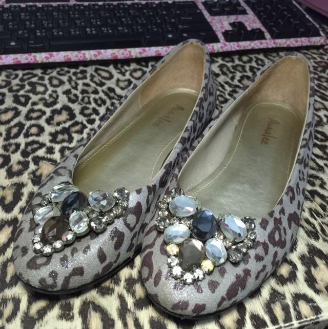 豹紋鑽石娃娃鞋