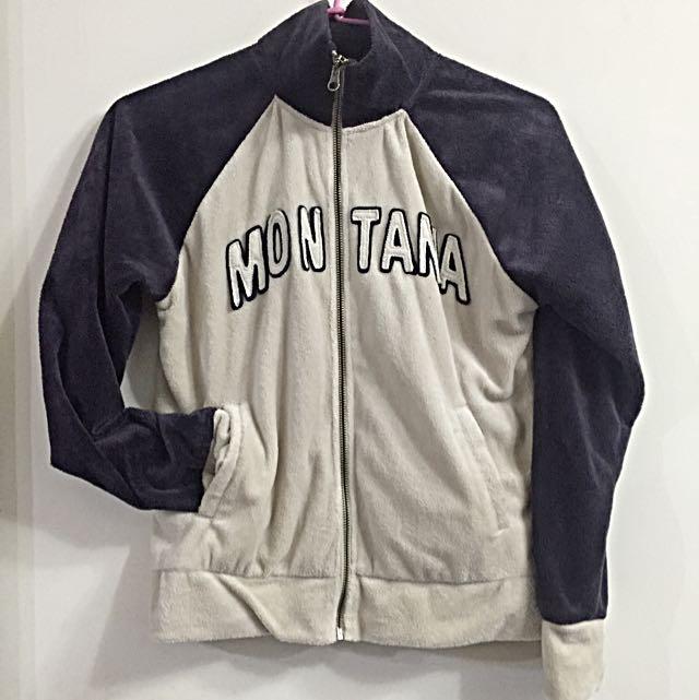 日系街頭感外刷毛拼色棒球外套(深紫x米灰)