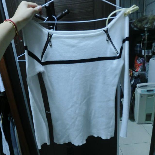 白色拉鍊平口衣(含運)
