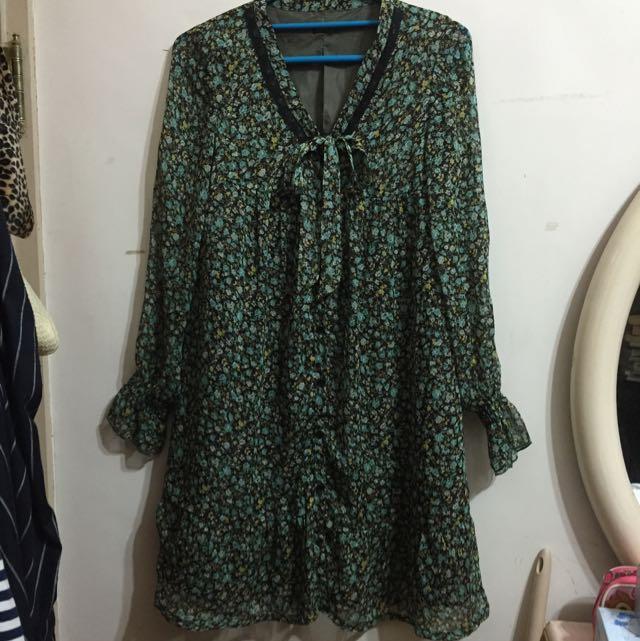 九成新✨Cantwo綠色碎花裙