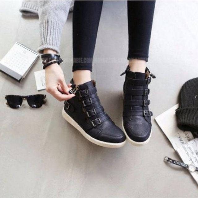 韓四釦環裝飾內增高高筒鞋 免郵