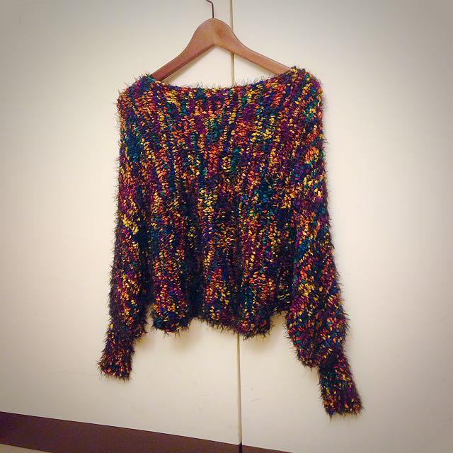 全新超柔軟混色短版蝙蝠袖毛衣