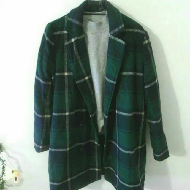 [保留]綠格紋長版西裝外套