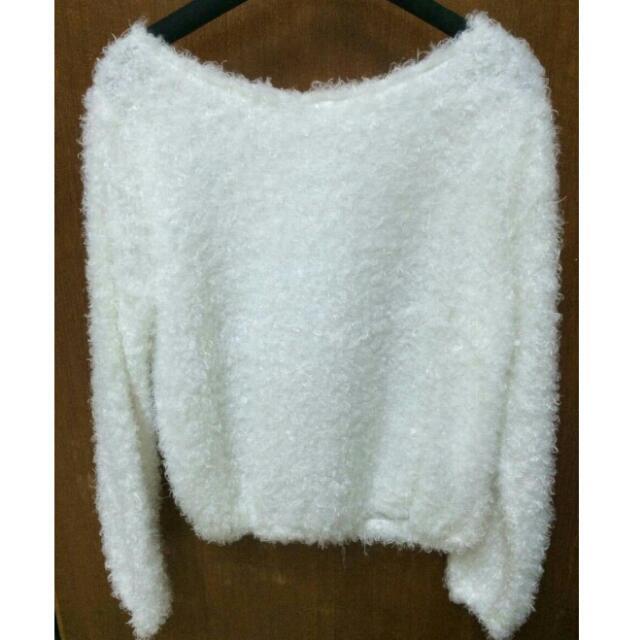全新 白色毛海針織毛衣