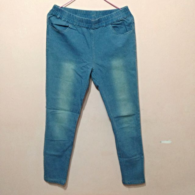 🔚 淺藍色 仿牛仔褲