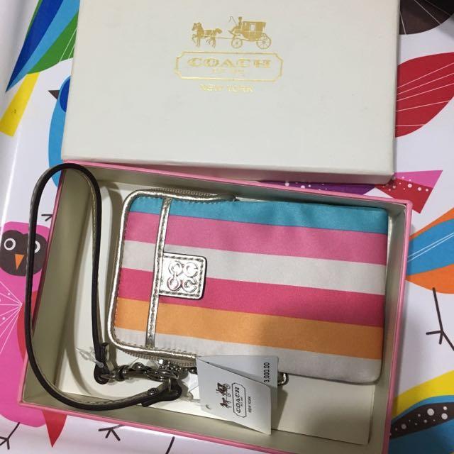 Coach 彩色條紋 直立式 手拿包