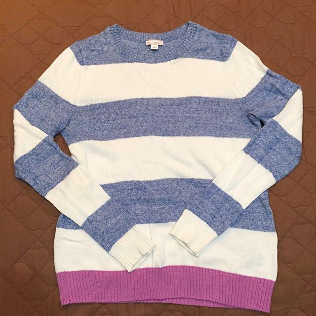 (9成新)GAP 跳色條紋針織上衣
