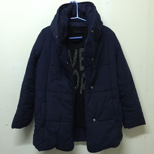 JEANASiS 深藍立領鋪棉外套 (不含內搭)