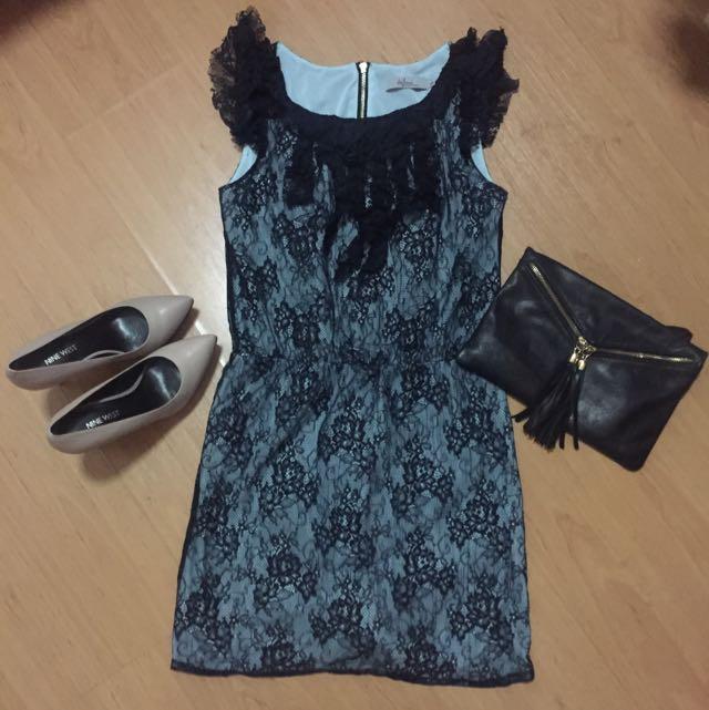 Lace light blue black dress fits s-m