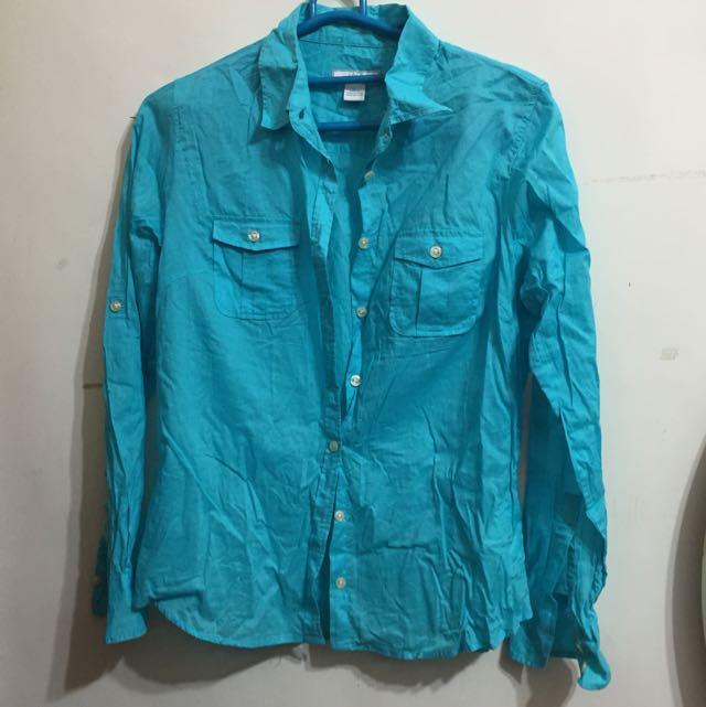 九成新✨Lady hathaway藍綠色薄襯衫