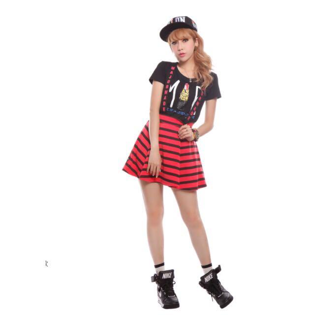 Major Made黑紅條紋吊帶裙