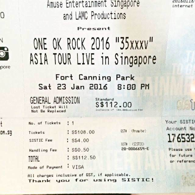 *RESERVED* One Ticket For ONE OK ROCK