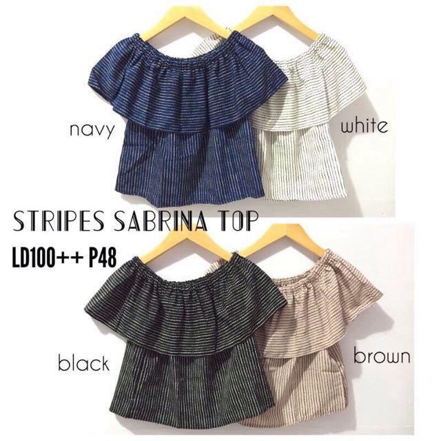 Stripes Sabrina Top