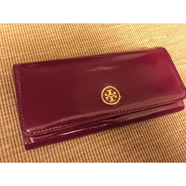 (全新)TORY BURCH 立體logo亮皮紫紅色長夾 專櫃正貨