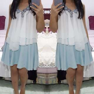 Kalung Biru Premium / White Top / Blue Sky Skirt