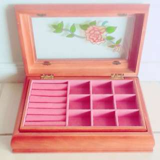 Jewellery Holder Antique Vintage Wooden Pink Floral Box