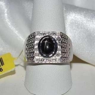 Black Star Sapphire And Diamond