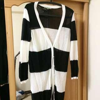 黑白粗條薄外套