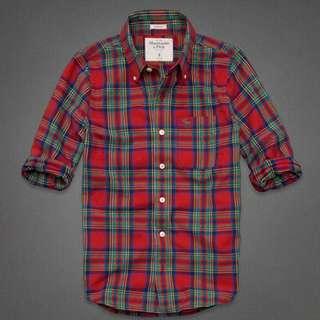 A&F(Abercrombie & Fitch)質感紅格子襯衫S/M號各ㄧ件