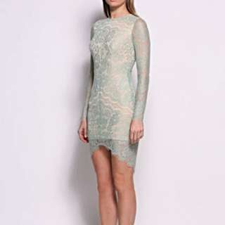 Elle Zeitoune Melanie Long Sleeve Dress In Mint