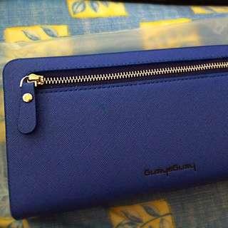 深藍色女性皮夾(可加掛環 環手)