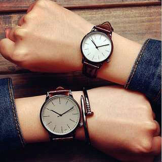 🚚 Plain Couple Watches White Face