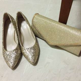 Gold Dinner Shoes & Clutch