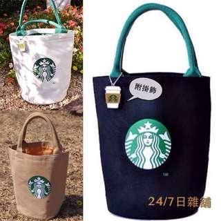 日本星巴克 Starbucks 附吊飾 厚實帆布 圓筒包手提袋單肩包環保袋 黑/白
