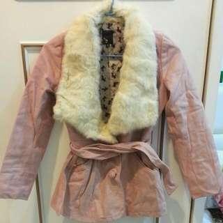兔毛麂皮綁帶大衣外套