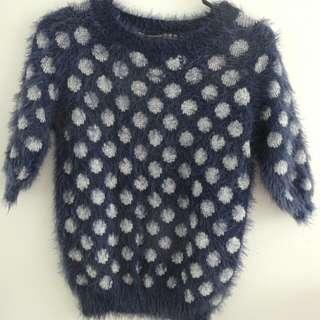 Fuzzy Elbow-length Sweater Navy Polka Dot Sz 6-8 - Primark