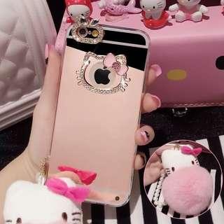 卡通Hello Kitty 水鑽兔毛iPhone6plus手機殼新款鏡面6splus橡膠套蘋果保護殼5.5 KT 粉紅 小公主風格 4.7 6s 三色 粉紅 玫瑰金 土豪金 白色鏡面現貨