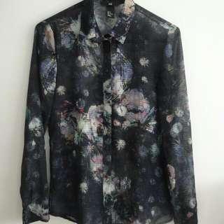 Dark Floral Print Collared Shirt Sz S - H&M