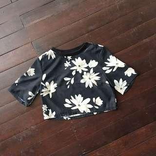 H&M Black Floral Crop Top