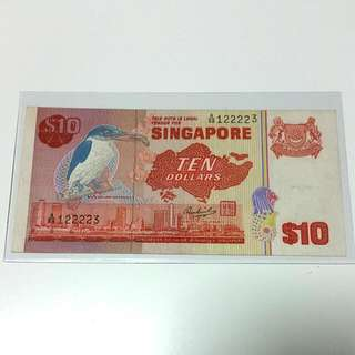Bird Series $10 Old Singapore Note.