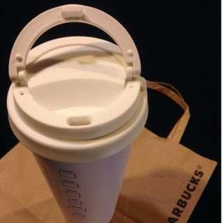Starbucks 星巴克.設計杯.白色 隨行杯,環保.經典.純白色款,473ml.可耐熱90度.咖啡迷和文青款